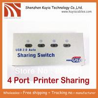 Free shipping+good quality usb 2.0 printer sharing switch 4 automatic port usb printer sharing hub