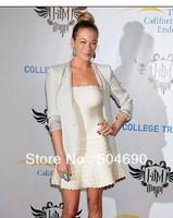 Hot Sale Fashion Scalloped Strapless HL Bandage Dress Party Dress White Evening Dress Sexy Celebrity Dresses Free Shipping