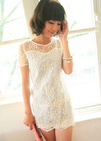 Fashion women's 2013 cutout lace crotch short-sleeve gentlewomen one-piece dress