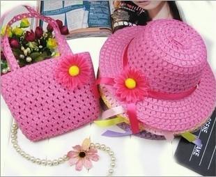 Best discount price 100%guarantee Child straw braid hat summer sun hat male hat handbag twinset  free shipping