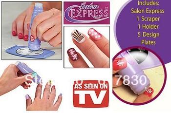 Free Shipping Salon Express New DIY Design Kit Professional Nail Art Stamp Stamping Polish Nail Decoration as seen on tv