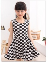 girls summer girls zipper with black and white plaid dress grid children's dresses wholesale