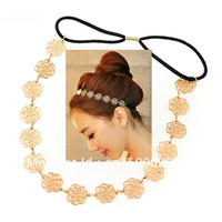 Cute Metallic Hollow Out Rose Flower Hair Band Lovely Sweet Exquisite Lady Elastic Headband  Fashion Gold Color