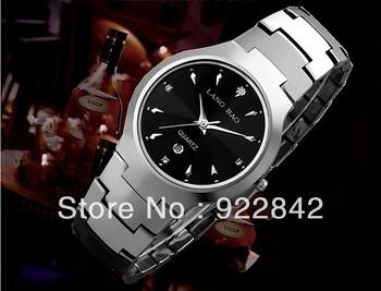 Langbao Brand Swiss Tungsten Steel Men Luxury Sapphire Table Commercial Waterproof 5ATM Stainless Steel Silver Quartz Watch