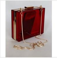 2013 brief  transparent gold clutch designer smile fashion evening acryl bag free shipping