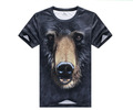 3D Digital printing T shirt black bear print mens outdoor quickdry UV protection M-XXL
