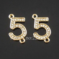 Free shipping 30pcs Jewelry Findings Alloy Crystal Rhinestone  Double hung The number 5 pendant charms