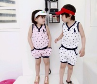 POLO children V-neck Vest and Shorts Summer Suit , Free shipping 5 Pieces /lot , 2 colors 5 sizes