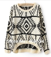 1pcs drop shipping, Free Shipping Geometry Design Printed Knitted Sweater Women  Warm Loose Pullovers Casual Wear Plus Size