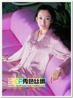 Free shipping 2014 embroidered small lapel Women faux silk sleepwear long-sleeve set twinset silk lounge