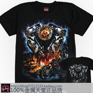 2013 T-shirt male short-sleeve o-neck t shirt 3dt motorcycle skull flame Free shipping(China (Mainland))