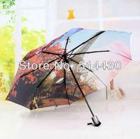 Producers of direct selling Carrries thick limited ! oil painting umbrella big umbrella anti-uv automatic umbrella