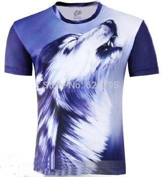 Free Shipping Fashion Wolf Men's Creative 3D T-Shirt, Short Sleeve Tee Shirt S-6XL,Plus Size