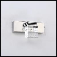 Free Shipping Modern Brief Bathroom Lights Single Crystal 14cm AC85-265V 3W High Power Led Mirror light Wall Lamp Lighting