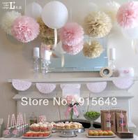 "Free shipping 30pcs 35cm/14"" Tissue Paper Pom Poms Wedding Party Home Decor Craft, Mix colors uPick tissue pom poms"