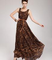 2013 Dress New Sexy Fashion Women's O-Neck Leopard Print Dress Ladies Fashion Loose Chiffon Dress Brown Free Shipping