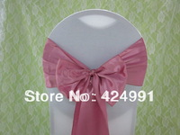 100pcs Hot Sale #12 Dusty Pink Satin Chair Sash For Weddings Events &Party Decoration
