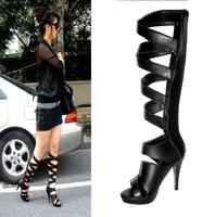 2013 Newest women sandals boots shoes sexy open toe leather sandal shoes 12CM high heels platform cutout high boots plus size