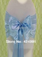 100pcs Hot Sale #116 Sky Blue Satin Chair Sash For Weddings Events &Party Decoration