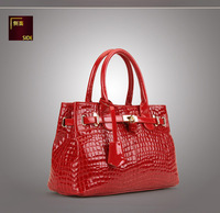 Free shipping 2013 HOT! LADY FASHION HANDBAG Real cow leather Alligator Pattern C5011188