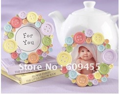"FREE SHIPPING+Baby Shower Favors ""Cute as a Button"" Round Photo Frame+120pcs/LOT(China (Mainland))"
