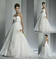 Free Shipping Sweetheart A-line Embroidery Strapless Organza Wedding Dresszarabridal