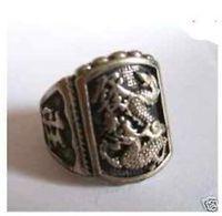 Rare Vintage Tibet Tribal dragon wealth men's luck ring   / Free Shiping