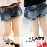 Free shipping children's clothing 2013 child short jeans baby shorts roll up hem female child denim shorts
