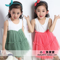 Free shipping children's clothing 2013 child vest one-piece dress tulle dance dress