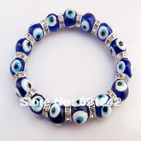 Wholesale 12pcs/lot Fashion Turkish Murano Glass 10MM Beads dark blue Evil eyes Charm Bracelet jewelry Stretch Bracelet EB312