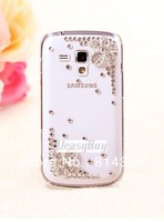 Bling Diamond crystal beauiful flower Clear hard back Case Cover For Samsung Galaxy S Duos S7562