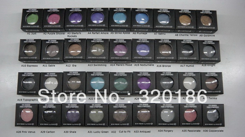 NEW makeup 1.5g pigment Eyeshadow/ Eye shadow With English Colors Name (36pcs/lot)(China (Mainland))