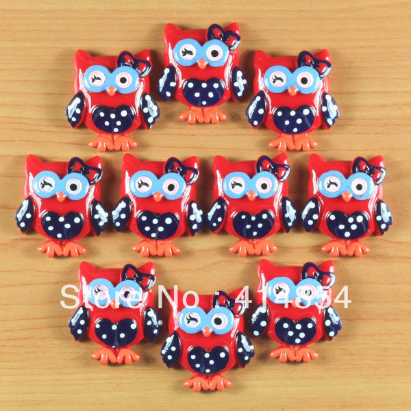 Wholesale Lot 50pcs 4th of July Patriotic OWL Resin Cabochons Flatbacks Flat Back Girl Hair Bow Center Crafts Embellishments DIY(China (Mainland))