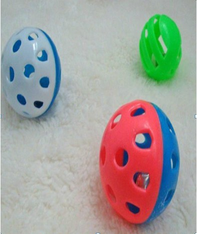 Pet toy supplies plastic ball belt bell duomaomao the cat toy bell ball diameter 2.5cm dog toys(China (Mainland))