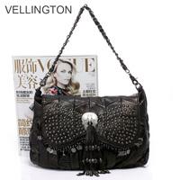 Hot sale 2013 women's genuine leather handbag sheepskin tassel bag messenger bag female 12-square-meter  free shipping
