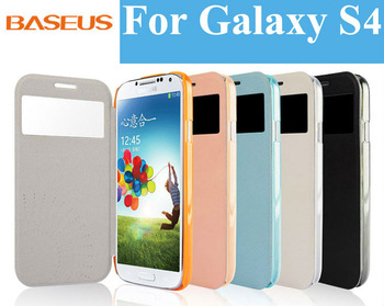 "Gift+Famous brand ""Baseus"" protector smart Auto wake/sleep view window Leather flip cover case for Samsung Galaxy S4 i9500 i9505"