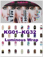 Wholesale Pro Salon express supply 12pcs/set  Luminous Grow in Dark Series Nail Art  Nail Foils Sticker  32 styles for choose
