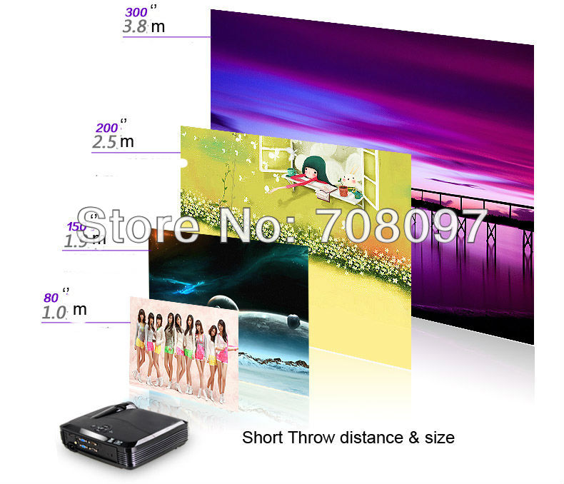 short throw projector 4500 lumens for holographic screen film daytime shop glass video advertising(China (Mainland))