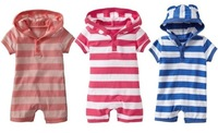 2013 Newest 3 colors POLO boys and girls hooded short-sleeved striped leotard Romper,Size 80-90-95,Free Shipping