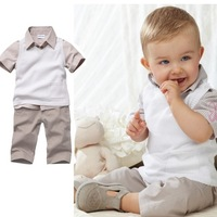 2013 Newest Law single boy lapel grid T-shirts and shorts set of two sets,Size 80-90-100,Free Shipping