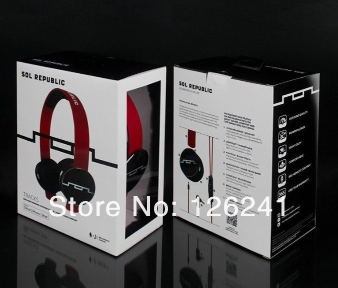 DHL free shipping Wholesale Sol Republic Tracks headphone On-Ear remote controltalk Mic black/white/red 10pcs/lot(China (Mainland))