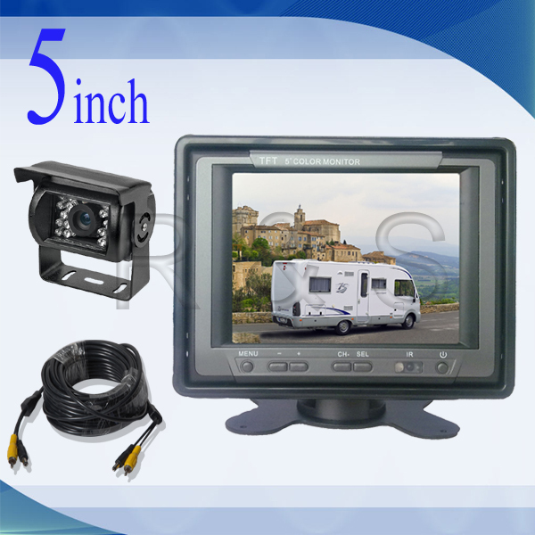 Free Shipping High Quality Rearview system RS-511RV 5 inch Car Monitor and Camera 3 CH Video(China (Mainland))
