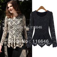 2013 new summer fashion women lace slim blouse shirt black beige dark blue S M L XL XXL free shipping