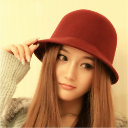 Dome small fedoras women&#39;s wool felt hat roll up hem woolen beret hat female(China (Mainland))
