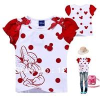 fashion summer Children T-shirt Minnie Mouse baby tops 5pcs/lot girl cartoon clothing kids's short sleeve T-shirt free shopping