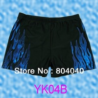 YK04B New Black Blue Fire Print Mens Swimwear Polyester Short Bathing Swim Briefs black Trunks Wholesale Free shipping