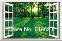 Landscape HD Pattern  fake windows sticker 120*80cm sofa background  pvc   art mural home decor Removable wall sticker  fj-21