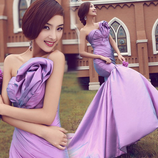 Shoulder oblique bride wedding toast Slim fishtail purple dress party gowns evening wear fashion Beautiful party dress(China (Mainland))