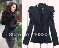 2013  women Ladies Suit Blazer One Button Shrug Shoulder Jacket Coat double Collars balck color