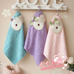 Rustic bow bear 100% cotton hand towel ultrafine fiber hanging towel small facecloth(China (Mainland))